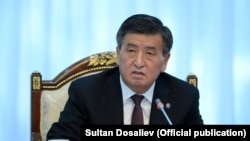 Kyrgyz President Sooronbai Jeenbekov speaking on February 8.