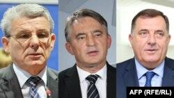 Sefik Dzaferovic (left), Zeljko Komsic (center), and Milorad Dodik