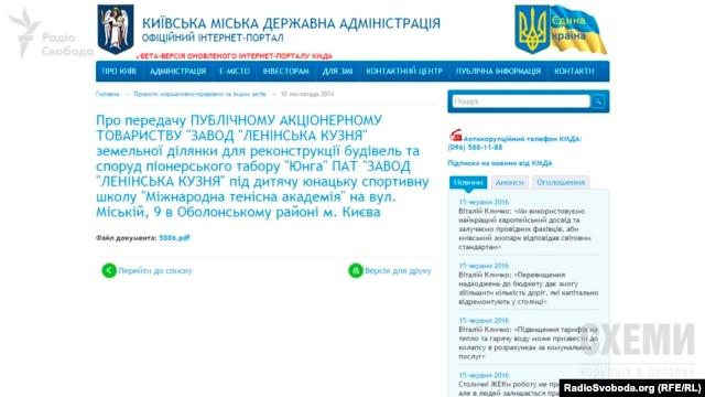 Рішення Київради про передачу земельної ділянки для дитячої юнацької спортивної школи (скрін з офіційного сайту КМДА)