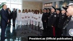 Prezient İlham Əliyev Milli Təhlükəsizlik Nazirliyinin hərbi hospitalının açılışında. 2012