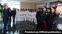 Prezident İ.Əliyev MTN hospitalının açılışında. 2012