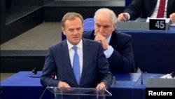 Donald Tusk gjatë fjalimit të tij të sotëm në Strasburg
