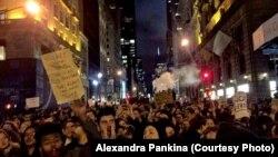 Протесты против Дональда Трампа в Нью-Йорке 10 ноября 2016 года