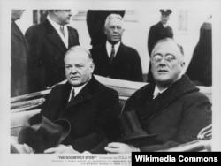 4 марта 1933 года. Президент Герберт Гувер и избранный президент Франклин Рузвельт направляются в Капитолий на церемонию инаугурации Рузвельта. Фото из собрания Национального управления архивов и документации (NARA)