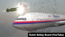 A graphic from the Dutch Safety Board report on the MH17 disaster which concluded that the plane was downed by a Russian-made Buk missile exploding near the cockpit.