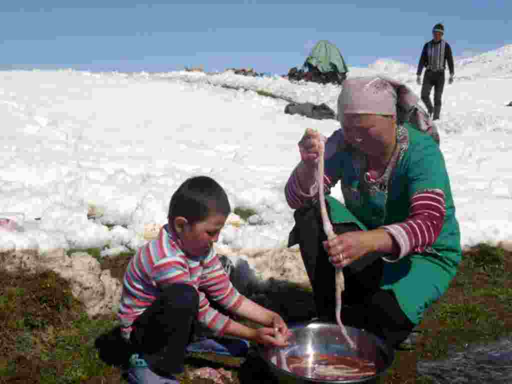 A family prepares a meal from one of the animals in their herd.