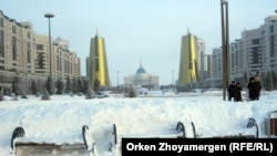 Астана после выпавшего снега.