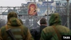 Сепаратисты на территории Донецкого аэропорта, начало марта 2015 г.
