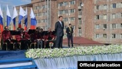 Armenia - Gazprom Chairman Alexei Miller speaks at a ceremony in Yerevan, 16Apr2015.