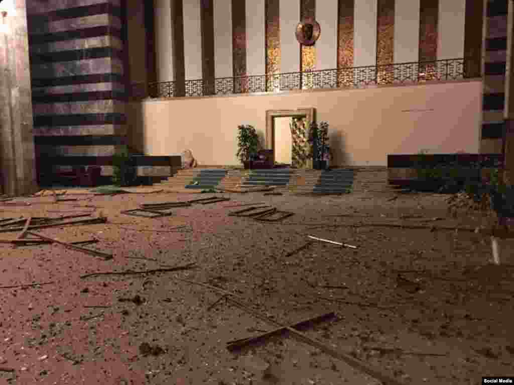 Another image purporting to show damage to the interior of the parliament building.