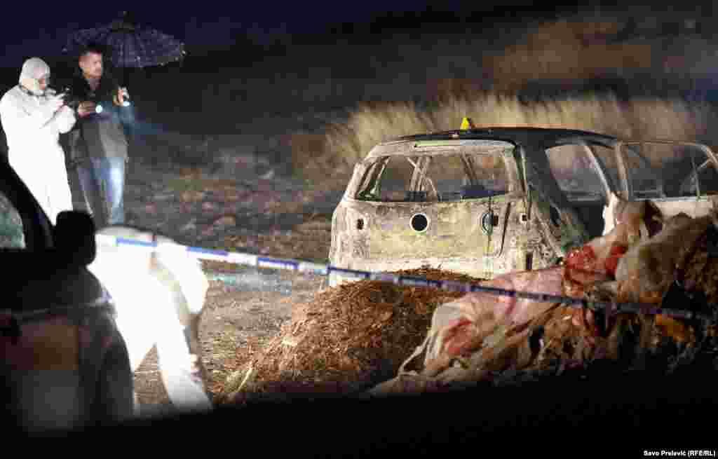 Istražitelji na mjestu eksplozije nakon pokušaja ubistva Igora Krstovića, Podgorica, 28. januar 2020.