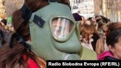Архивска фотографија - Граѓани на протест против загадувањето на воздухот во Скопје.