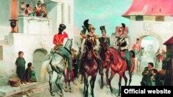 Встреча офицеров русской гвардейской кавалерии с жителями одного из европейских городов. Картина Готфрида Виллевальде