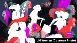 Фрагмент виставки ООН «Жінки про множинну дискримінацію жінок в Україні» (автор ілюстрації: Дана Рвана)