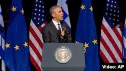 Президент США Барак Обама під час виступув Афінах