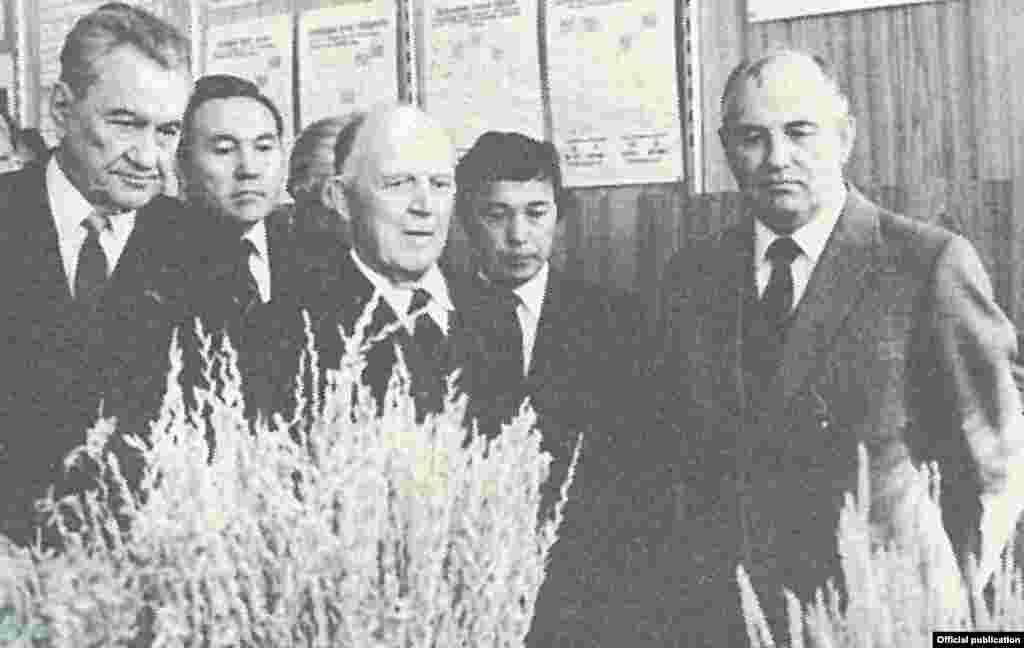 He became the first secretary of the Communist Party of Kazakhstan in 1989, and was elected president a year later. - Nazarbaev (second from left) was a member of the inner circle of Soviet leader Mikhail Gorbachev (right). He was also a critic of former communist boss Dinmuhamed Kunaev (left) because of Kunaev's lengthy stay in office -- something Nazarbaev himself would later be criticized for.