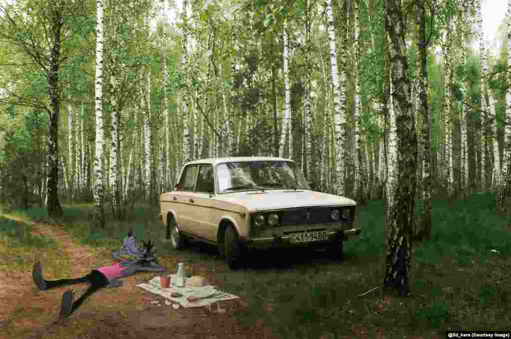 Wolf from the Soviet-era television cartoon Nu, Pogodi! chilling by a Lada in a birch grove.