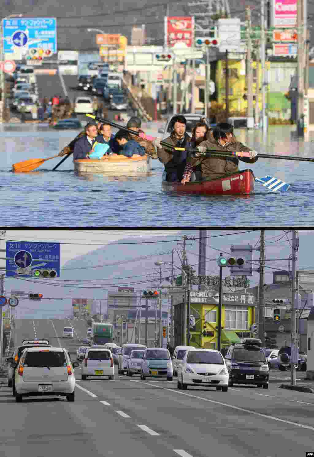On top, people evacuating with small boats down a road flooded by the tsunami in the city of Ishinomaki in Miyagi Prefecture on March 12, 2011, and below, the same area on January 13, 2012