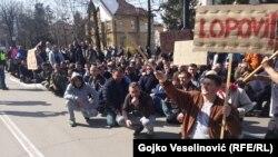 Protest radnika ' Željeznica RS' u Banjaluci
