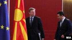 Средба на премиерот Никола Груевски и комесарот за проширување и соседска политика на ЕУ, Штефан Филе