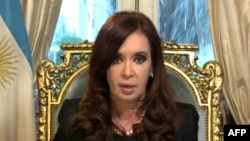 A screen shot of Argentinian President Cristina Fernandez de Kirchner on national TV, defending a pact with Iran to to investigate the 1994 bombing of a Jewish community center in Buenos Aires.