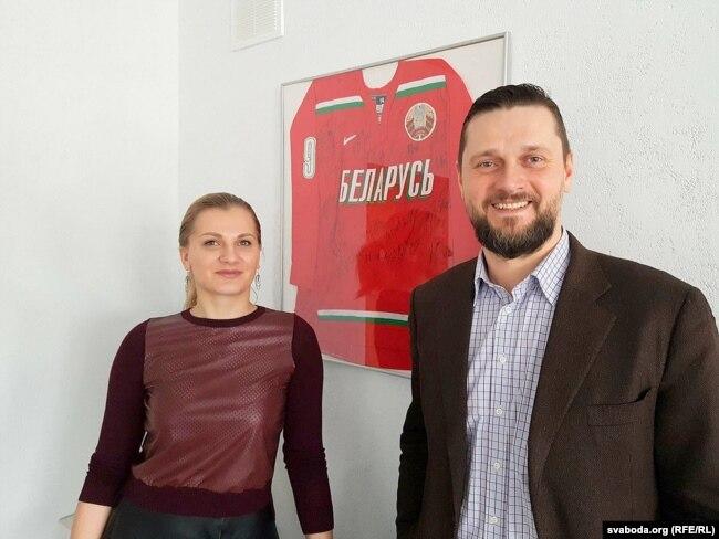 Сьвятаслаў Кісялёў і пляменьніца хакеіста Вольга Салей