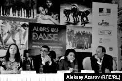 Гульмира Габбасова (хореограф), Гийом Норжоле (генконсул Франции), Гульнара Адамова (хореограф), Питер Фостер (бизнесмен). Алматы, 23 апреля 2013 года.