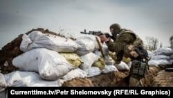 Українські бійці в Широкині відстрілюються від сепаратистів, фото 18 квітня 2015 року