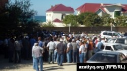 Some of the striking Kazakh oil workers who were dismissed gathered for a protest in Aktau on September 1.
