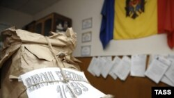 A bag of ballots at a polling station in Chisinau on April 15