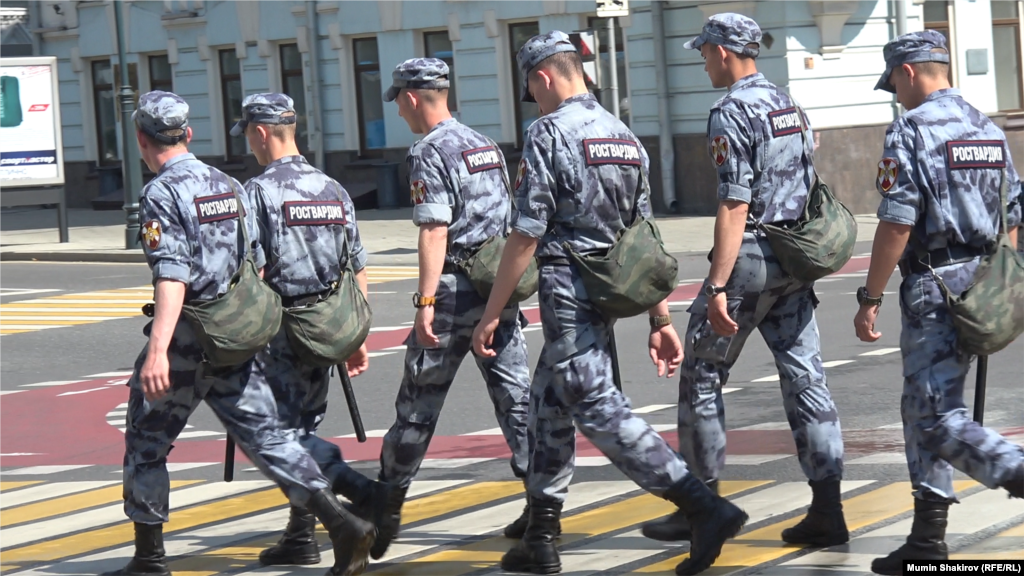 Russian police move into position ahead of the protest rally, which had been called for by opposition politician Aleksei Navalny.