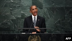 U.S. President Barack Obama addressing the United Nations General Assembly in New York on September 20.