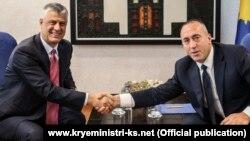 Kosovar President Hashim Thaci (left) and caretaker Prime Minister Ramush Haradinaj (file photo)