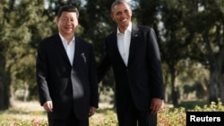 U.S. President Barack Obama meets Chinese President Xi Jinping at the Annenberg Retreat at Sunnylands in Rancho Mirage, California.