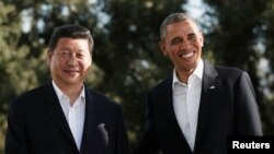 Барак Обама и Си Цзиньпин на ранчо Мираж в Калифорнии, 7 июня 2013 г.