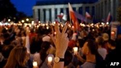 Акцыя пратэсту ў Варшаве супраць судовай рэформы