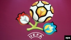 Ukraine -- The official logo of EURO 2012 unveiled in Kyiv, 14Dec2009