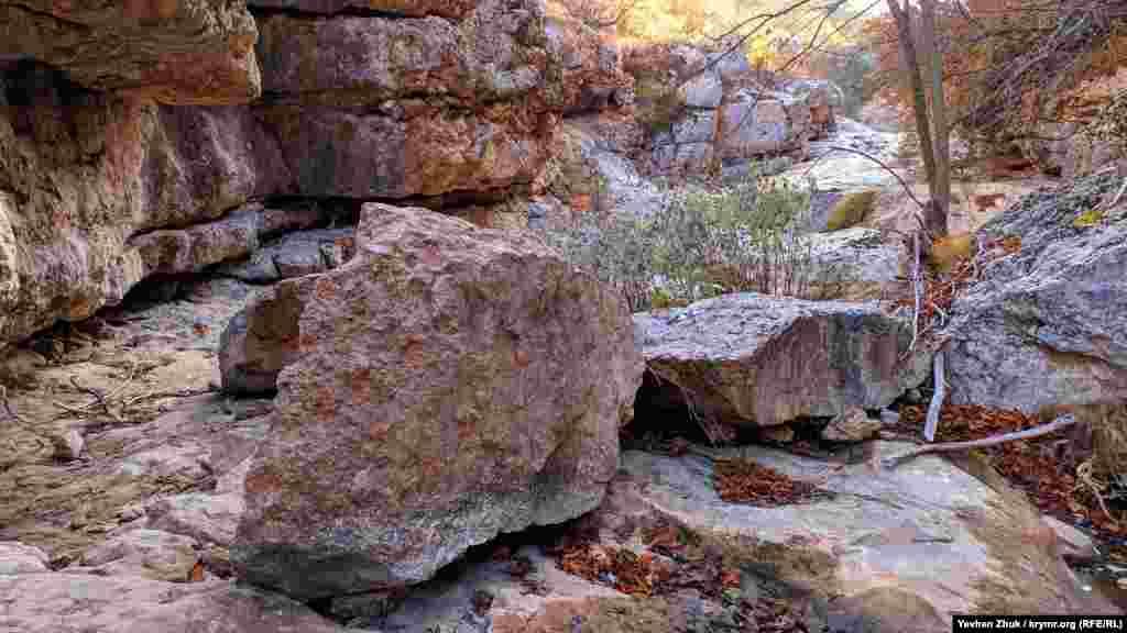 Каньйон називають Рожевим через специфічний колір вапняків, що оточують скелі