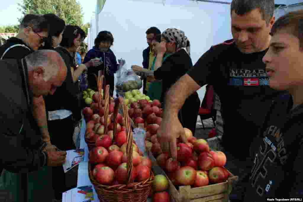 """Ярмарка-продажа яблок в одной из палаток - цены приходится писать """"на ходу""""."""