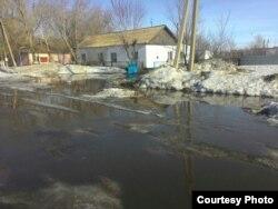 Подтопленная улица в селе Кокпекты Карагандинской области. Март 2017 года.
