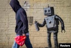 Граффити Бэнкси: реакция на новости о том, что в супермаркетах нас в ближайшем будущем будут обслуживать роботы