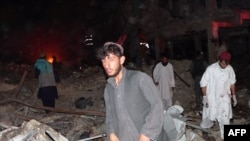 The site of the bomb blast in Kandahar city