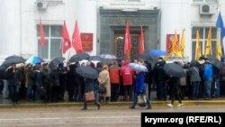 Пікет проти закону про вибори губернатора в Севастополі, 14 березня 2017 року