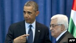 در این تصویر از مارس ۲۰۱۳ باراک اوباما، رئیسجمهوری وقت و محمود عباس، رئیس حکومت خودگردان در رامالله