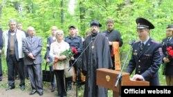 Церемония открытия памятника «жертвам политических репрессий в 1930-х» на месте массового захоронения в Саранске. 23 мая 2016 года.