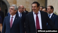 Armenia - President Serzh Sarkisian (L) attends the inauguration of a new fitness center in Yerevan owned by businessman Gagik Tsarukian (R), 31Oct2016.