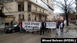 Protest zdravstvenih radnika u Mostaru, 12. mart 2018.