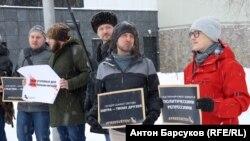 Пикет в защиту Михаила Светова в Новосибирске