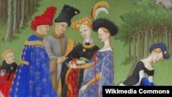 Одна из миниатюр с изображением развлечений аристократии из иллюстрированной рукописи XV века «Великолепный часослов герцога Беррийского»