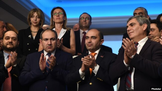 Armenia - The leaders of the opposition Yelk bloc launch their election campaign in Yerevan, 5Mar2017.